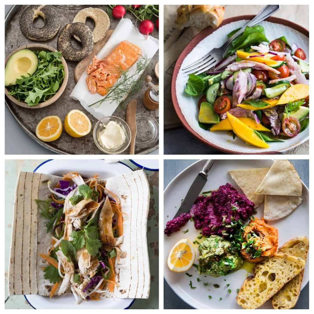 Image of four healthy work lunches