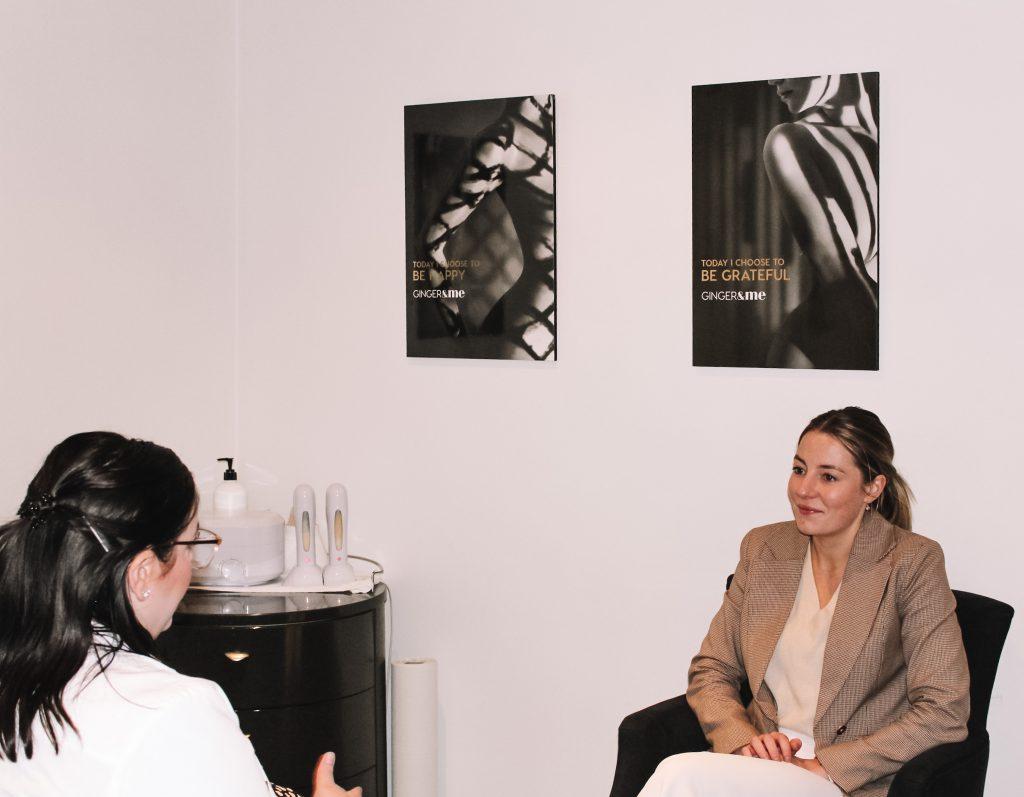 Client having a skin consult at Nicola Quinn