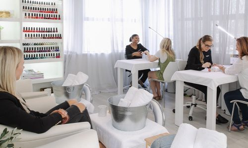 woman in nail lounge in christchurch
